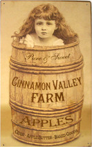 Rustic/Vintage Cinnamon Valley Farm Apples Orchard Country Tin Metal Sign - $20.00