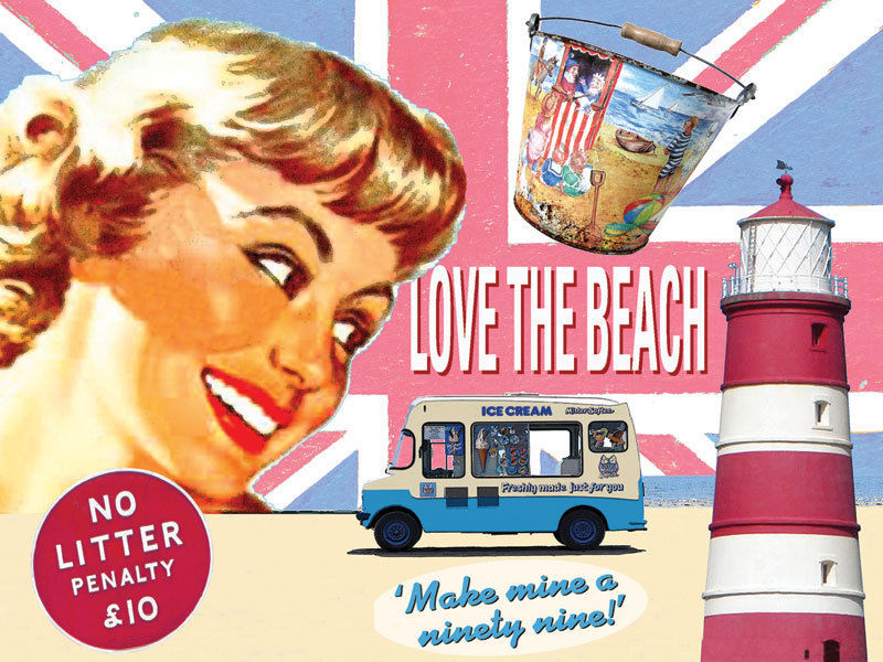 Love the Beach Ice Cream Vintage Classic Advertidement Metal Sign