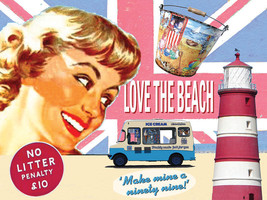 Love the Beach Ice Cream Vintage Classic Advertidement Metal Sign - $15.95