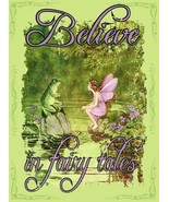 Believe in Faries Faerie Fairy with Toad Magic Pixie Metal Sign - $16.95
