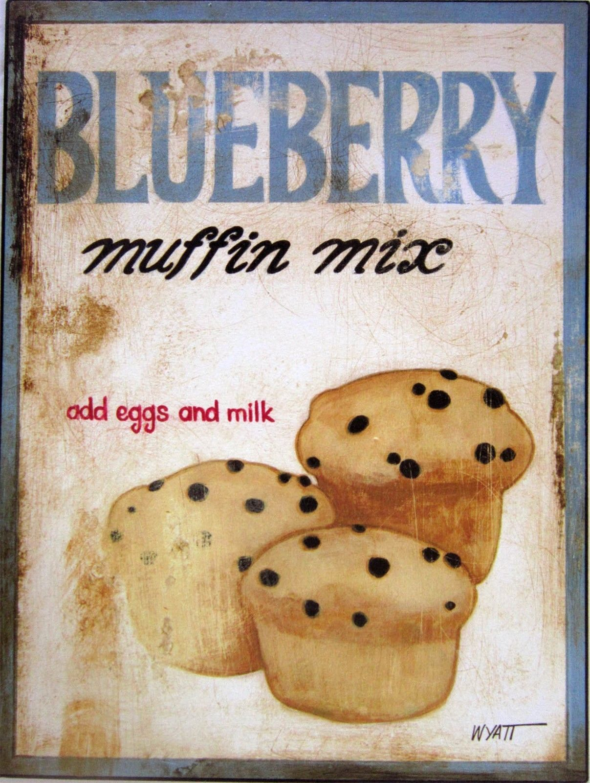 Blueberry Muffin Mix (metal sign)