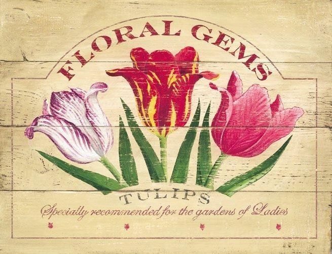 Floral Gem Tulips Garden Flowers Nature Metal Sign