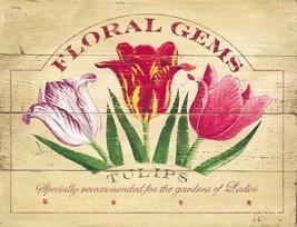 Floral Gem Tulips Garden Flowers Nature Metal Sign - $19.95