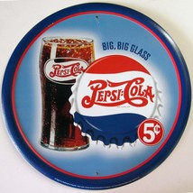 Pepsi:Cola Big Glass 5c Advertising Metal Sign - $14.95