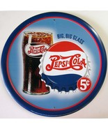 Pepsi:Cola Big Glass 5c Advertising Metal Sign - $14.95