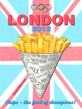London Olympics 2012 Chips Vintage Distressed Decorative Metal Sign - $19.95