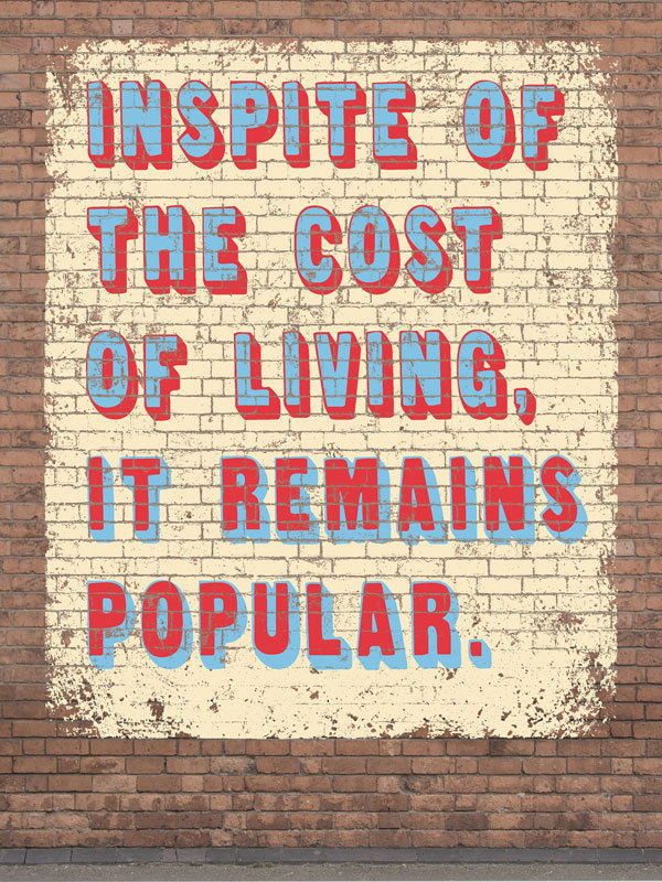 Cost of Living Humor Vintage Distressed Shabby Chic Decorative Metal Sign