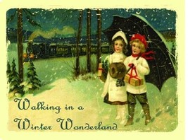 Walking In A Winter Wonderland Christmas Snow Couple Love Holiday Metal ... - $15.95