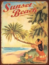 Sunset Beach Tropical Island Paradsie Tropics Metal Sign - $16.95