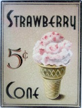 Strawberry Cone Metal Sign - $16.95