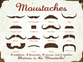 Moustaches Guide Hipster Metal Sign - $15.95
