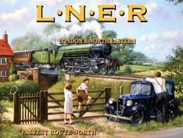 L.N.E.R. Railways London & North Eastern Train Transportation Retro Meta... - $19.95