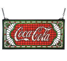 """25""""W X 12""""H Coca-Cola Victorian Web Stained Glass Window - $549.00"""