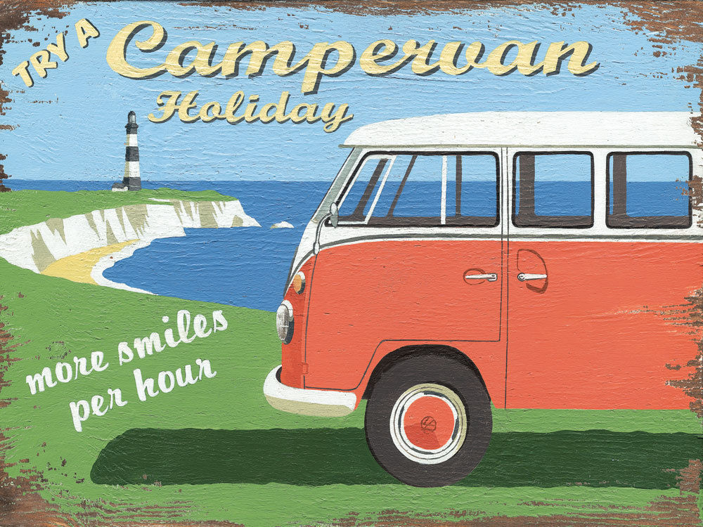 The Campervan Holiday Bug Bus Transportation Retro Metal Sign