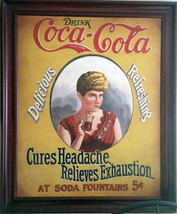 "Coca-Cola Advertisement ""Cures Headache-Relieves Exhaustion"" - $1,995.00"