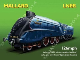 L.N.E.R. Railways Mallard Railroad Train Transportation Retro Metal Sign - $19.95