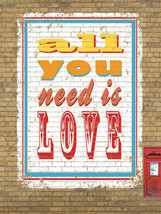 All You Need Is Love Music Inspiration Motivational Retro Metal Sign - $23.95