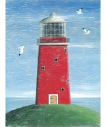 Red Lighthouse Nautical Ocean Water Beach Decor Metal Sign - $16.95