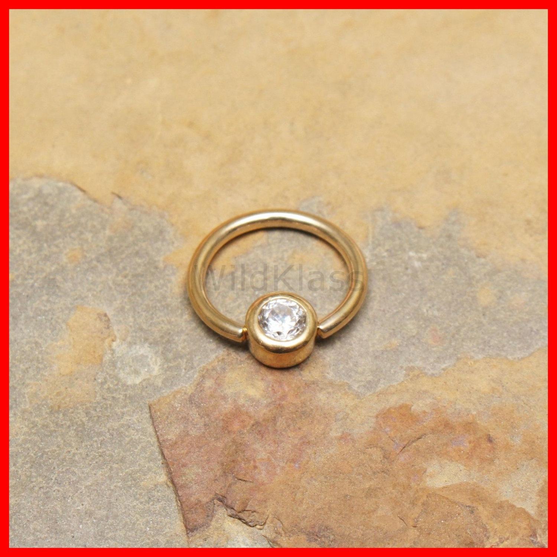 14k gold ring 16g captive bead gemmed solid gold