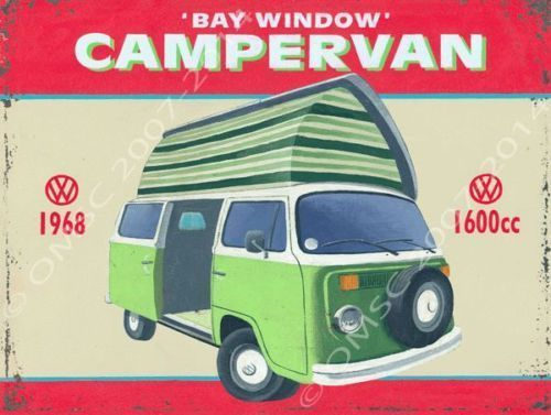 Bay Window Camper Van Bug Bus Transportation Retro Metal Sign