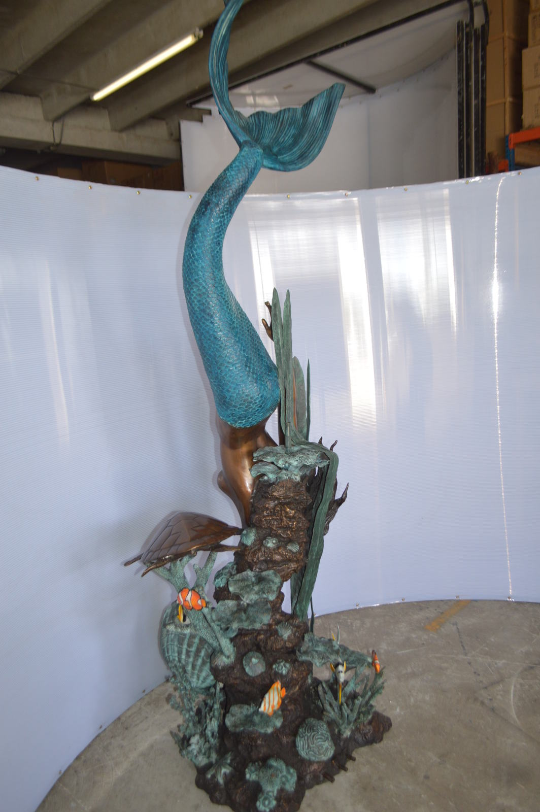 "Mermaid Diving for a Pearl Fountain Bronze Statue -  Size: 34""L x 27""W x 93""H."