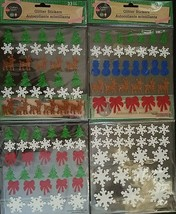 CHRISTMAS GLITTER STICKERS Bows Reindeer Snowflakes Snowmen Trees SELECT... - $2.99