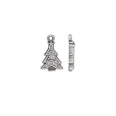 Lot of 10 Antique Silver 3/4 inch Christmas Tree Drop Charms Plated Pewter Metal