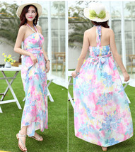 Sweet chiffon Colorful Floral wearing bohemian blossoming printed halter dress - $18.50