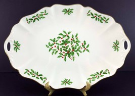 "LENOX China Holiday Dimension 16"" Oblong Tray Serving Handled Dinnerware - $59.39"