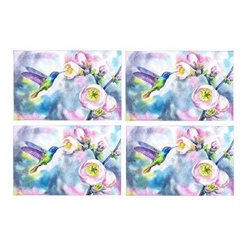 InterestPrint Watercolor Hummingbirds with Spring Flowers Fabric Placemats Set o