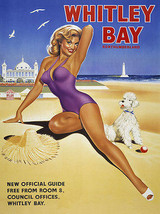 Whitley Bay Beach Pin Up Model Retro Vintage Metal Sign - $16.95
