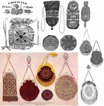 1902 Victorian Edwardian Era Beaded Purse Handbag Patterns Beaded Patter... - $11.93