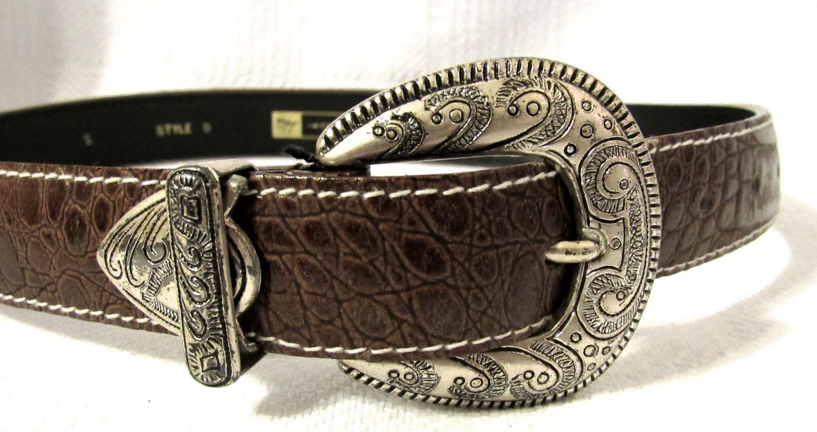 Morgan Taylor Women's Brown Leather Croc Embossed Belt Size: S