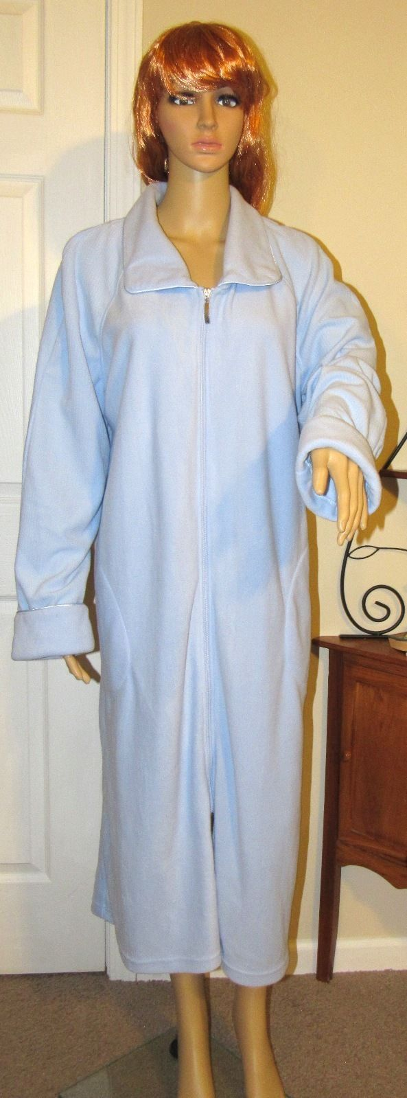Kim Rogers Solid Powder Blue Zip Front Long Sleeve Robe Polyester Size: L