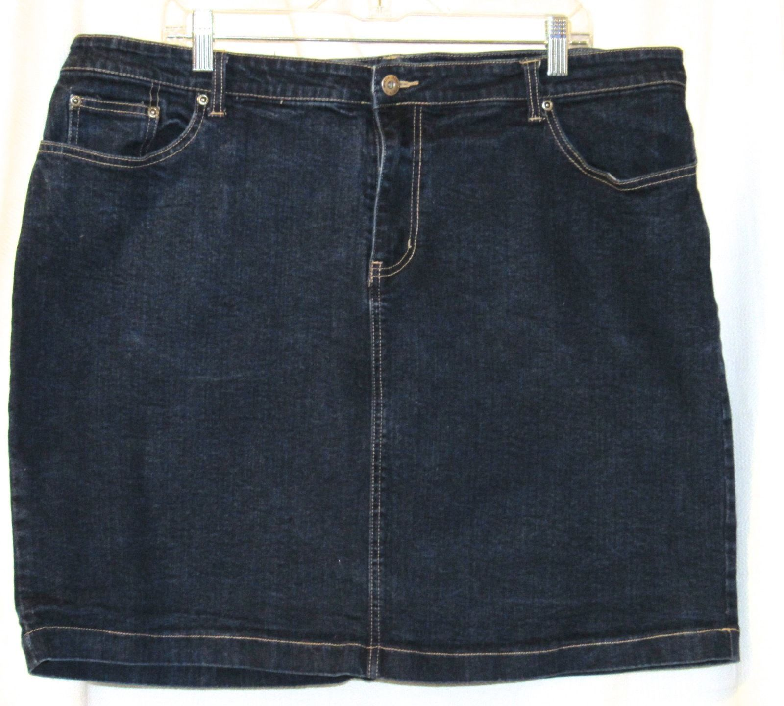 Venezia Dark Blue Stretch Cotton Denim Jean Skirt Plus Size