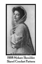 1908 Vintage Mohair Shawl Knit Crochet Fascinator Pattern Lacy Shawl DIY Reenact - $5.77