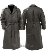 Mens Belted Black Leather Long Trench Coat Double Breasted Duster - $72.95