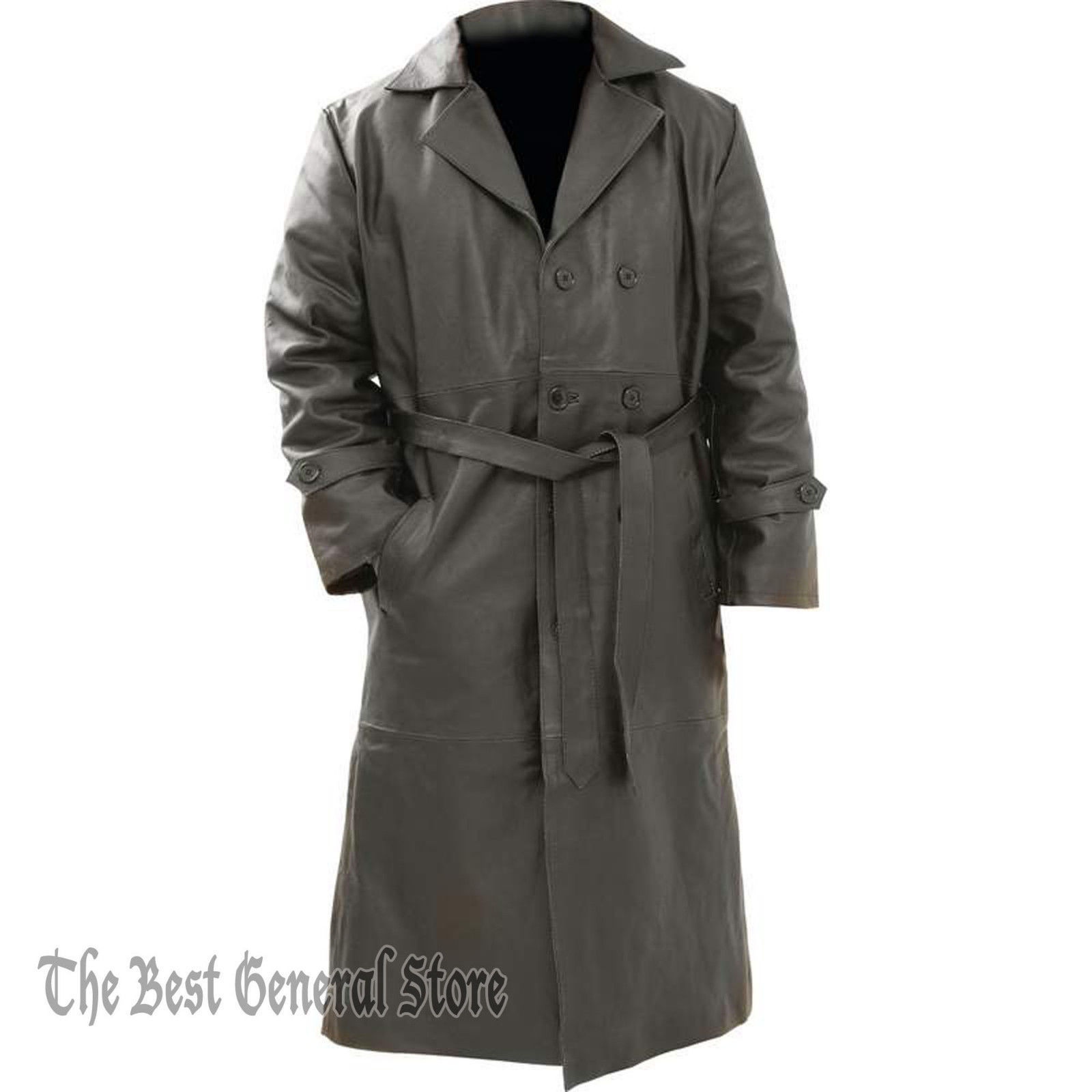 Mens Belted Black Leather Long Trench Coat Double Breasted Duster