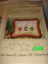 Lizzie Kate Cross Stitch All Hearts Warm At Christmas #61 Plus Fabric & Buttons image 3