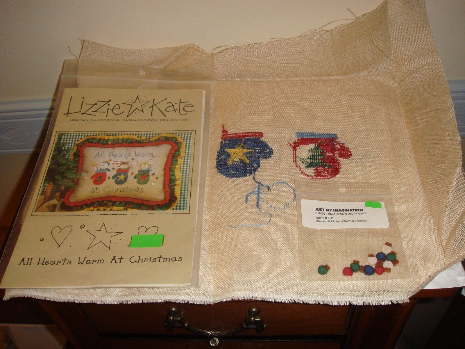 Lizzie Kate Cross Stitch All Hearts Warm At Christmas #61 Plus Fabric & Buttons image 5