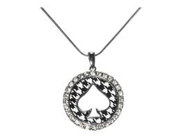 Silvertone Round Houndstooth Spade Pendant Necklace - $13.95