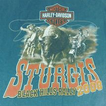 Harley Davidson Sturgis Black Hills Rally 2008 Buffalo Chip Blue T Shirt Sz XL image 4