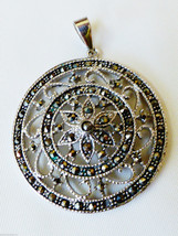 STERLING SILVER 925 FLORAL DESIGN MARCASITE ACCENT ROUND PENDANT - $41.58