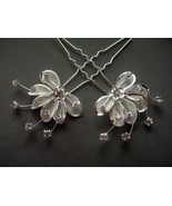 Rhinestone Hair Pin Flower with Crystals Silver Plated 2 piece set Weddi... - $6.50