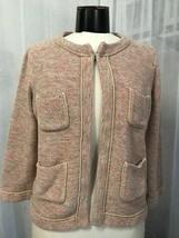Ann Taylor Loft Women Pink and Tan Knit with Metallic Thread Cardigan Si... - $19.79