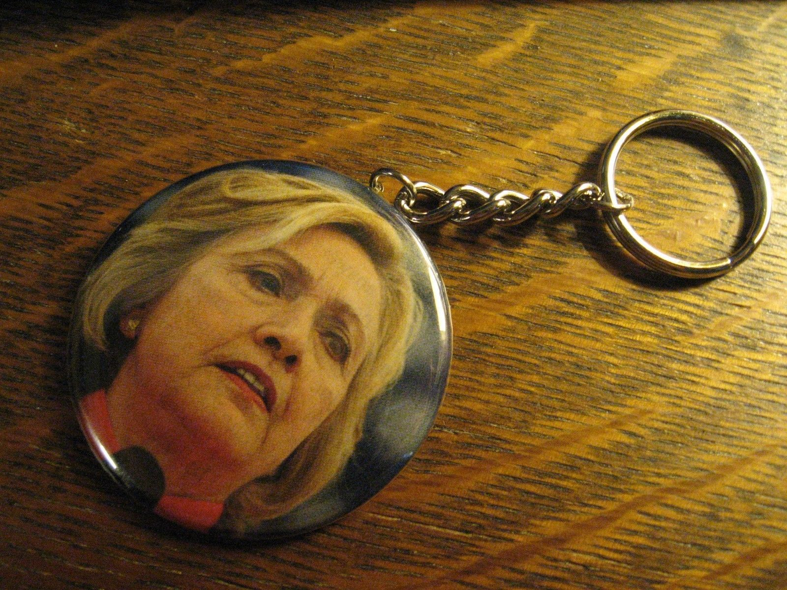 Hillary Clinton Keychain -  Repurposed Magazine Backpack Purse Clip Ornament