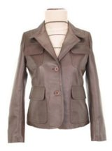 Alpakaandmore Womens Lamb Nappa Leather Jacket, Blazer Brown (X-Large) [Apparel] - $285.12