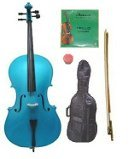Lucky Gifts 1/10 Size Blue Cello,Bag,Bow+Rosin+Extra Strings for Replacement