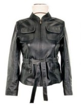 Alpakaandmore Women's Lamb Nappa Leather Jacket Black Classic Style (Medium) - $285.12