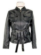 Alpakaandmore Women's Lamb Nappa Leather Jacket Black Classic Style (Large) - $285.12